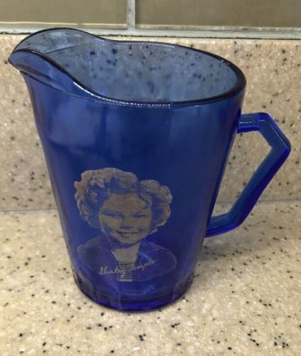"Vintage Glass Shirley Temple Cobalt Blue Cream Pitcher 4.5"" Decor Kitchen"