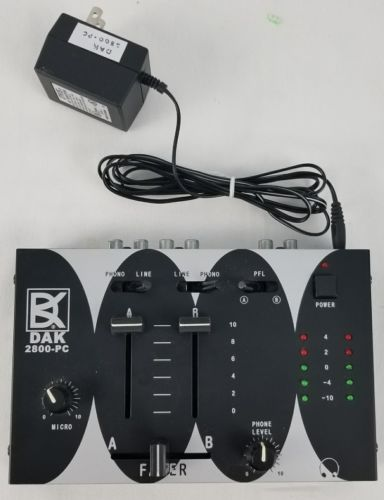 DAK-2800-PC Interface Stereo DJ Mixer-2 Phono/Line Input; PC/Amp Out; Headphone