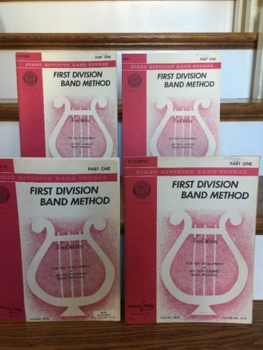 First Division Band Method Music Books Part One Clarinet Bassoon Oboe Baritone
