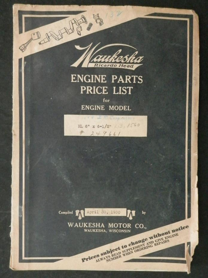 Pair of Waukesha  Parts List Booklets Model  HL 6