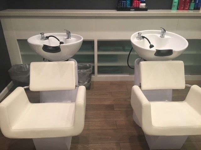 Shampoo Bowl/Backwash Units with Attached Chairs