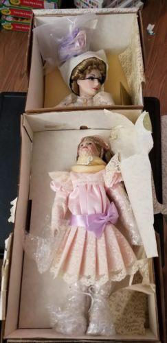Franklin Mint Porcelain Heirloom Dolls Gibson Girls Promenade New Original Box