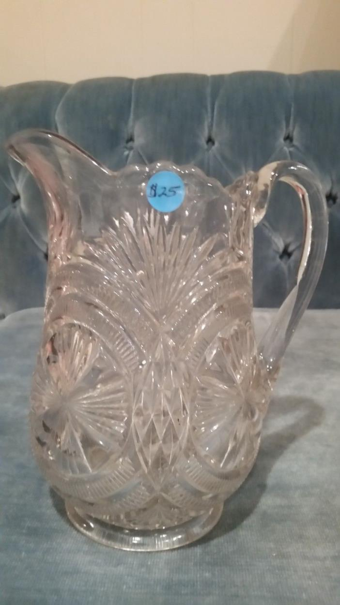 Antique Glass Water Pitcher