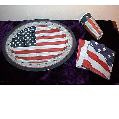 Patriotic, 4th July, Large Plastic Serving Tray, Drinking Glass and New Napkins