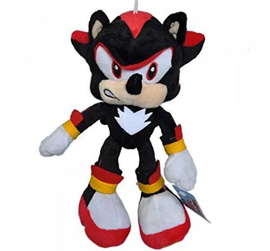 Shadow Sonic The Hedgehog Tails Sega Knuckles Black Plush Doll Toy Gift 10 inch