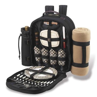 Picnic at Ascot London Picnic Basket Backpack for 4 with Blanket