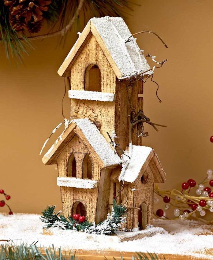 TOWER LIGHTED WOOD WINTER HOUSE COUNTRY RUSTIC CHRISTMAS HOME DECOR C10-208
