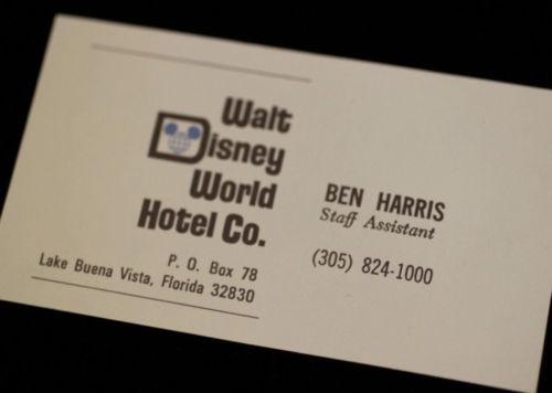 1970 Vintage Walt Disney World Hotel Co. pre-opening Business Card Ben Harris