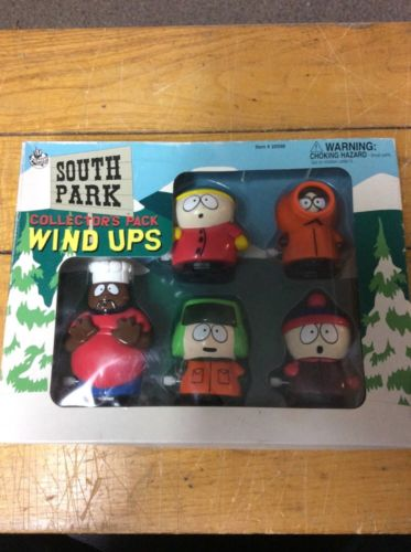 1998 South Park STAN KYLE KENNY CARTMAN CHEF Wind-Up Walkers Set new