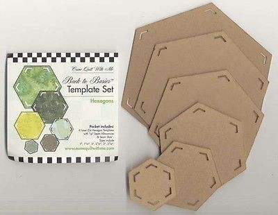 BACK TO BASICS QUILTING TEMPLATE SET, Hexagons 6pcs. From Come Quilt With Me NEW