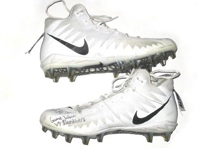 KYLE JUSZCZYK SAN FRANCISCO 49ERS GAME WORN & SIGNED WHITE UNDER ARMOUR CLEATS