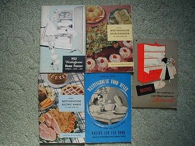 5 Westinghouse Owners Manuals 1953 Freezer Refrigerator Range Laundromat 1940's