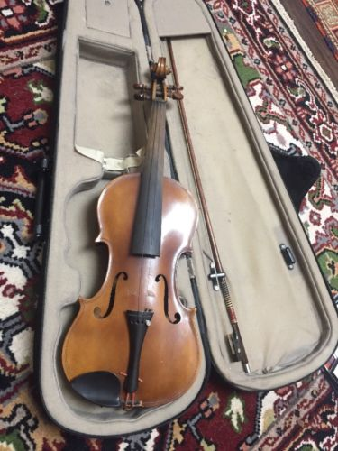 Old Vintage Strad copy  4/4 Violin, For Repair Or Parts. With Case And Bow