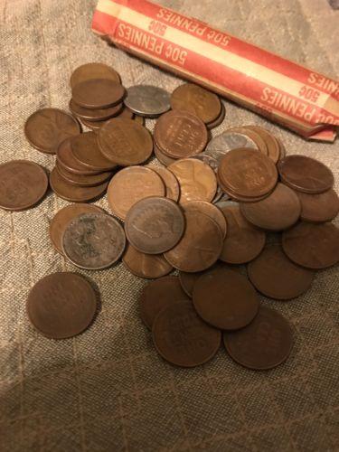 Wheat Penny Roll W/Indian Head Penny 1940's