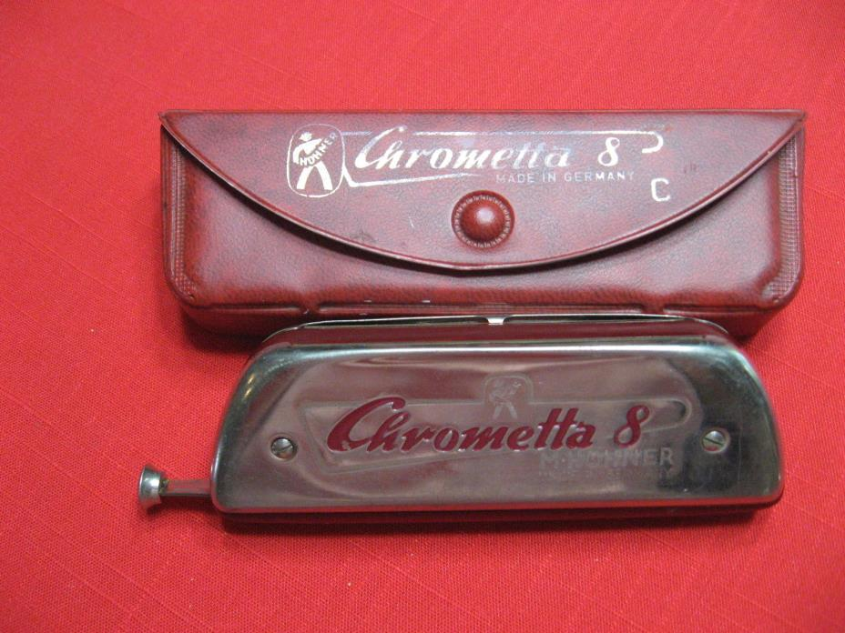 Vintage Hohner Chrometta 8 Chromatic Harmonica In Original Case-Made In Germany