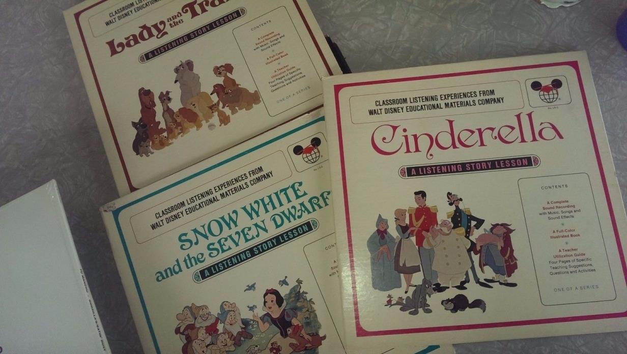 Walt Disney Classroom Learning Records Books Cinderella Snow White Lady Tramp