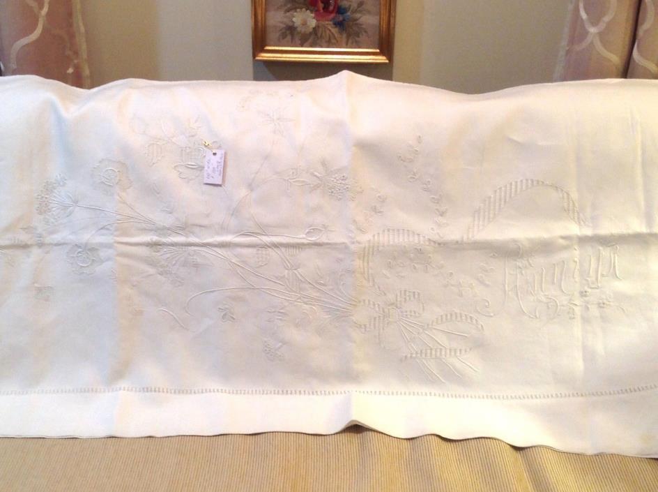 superb ecru embroidered monogramed linen bed sheet France 110 x 108