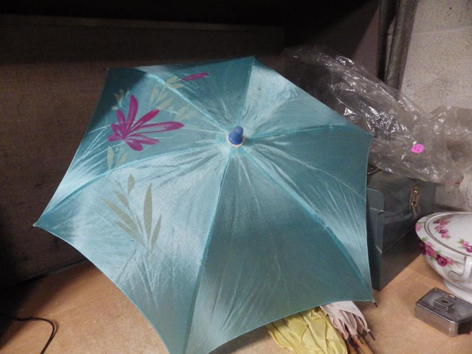 LOT OF 4 Vintage Hand Made Umbrella SILK STYLE PARASOLS Wood KIDS JAPAN BLUE