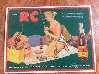 1992 Royal Crown soda advertising sign, tin,metal, circa 1950's theme, RC cola