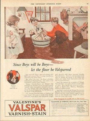 1924 Valspar Floor Stain Boys Bathing Dog Grooming Bedroom Art 20s Home Decor Ad