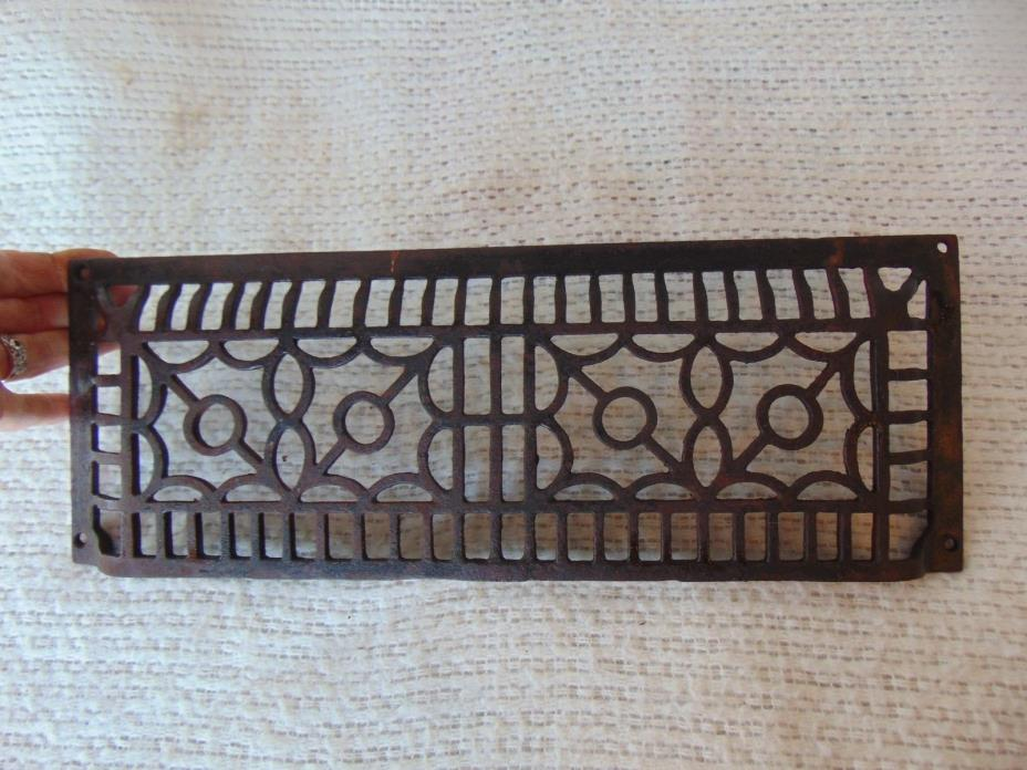 Antique Cast Iron Art Deco Wall Grate Heating Vent Register Floor 15