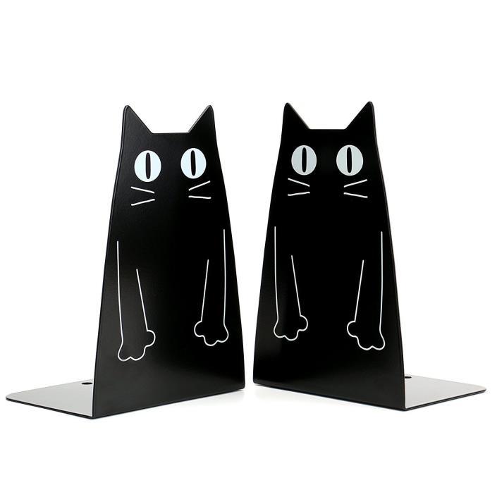 Cartoon Cat Black Sleek Bookend Hold Books Book Holder Bedroom Office Decor