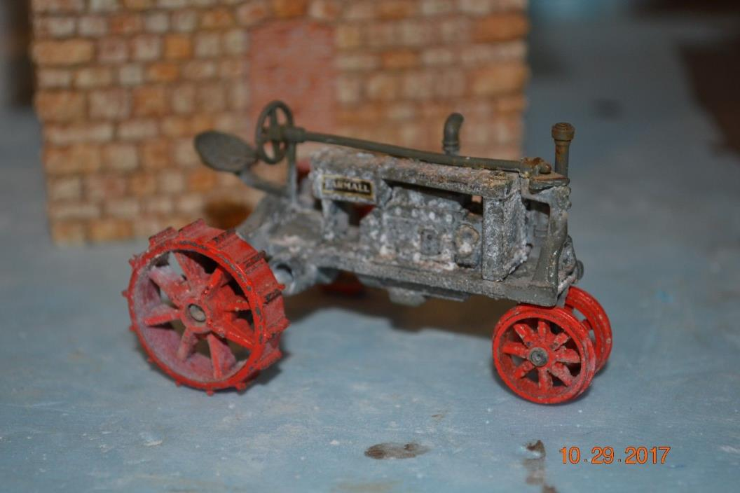 On30 On3 McCormick Deering Tractor on steel wheels Weathered and aged