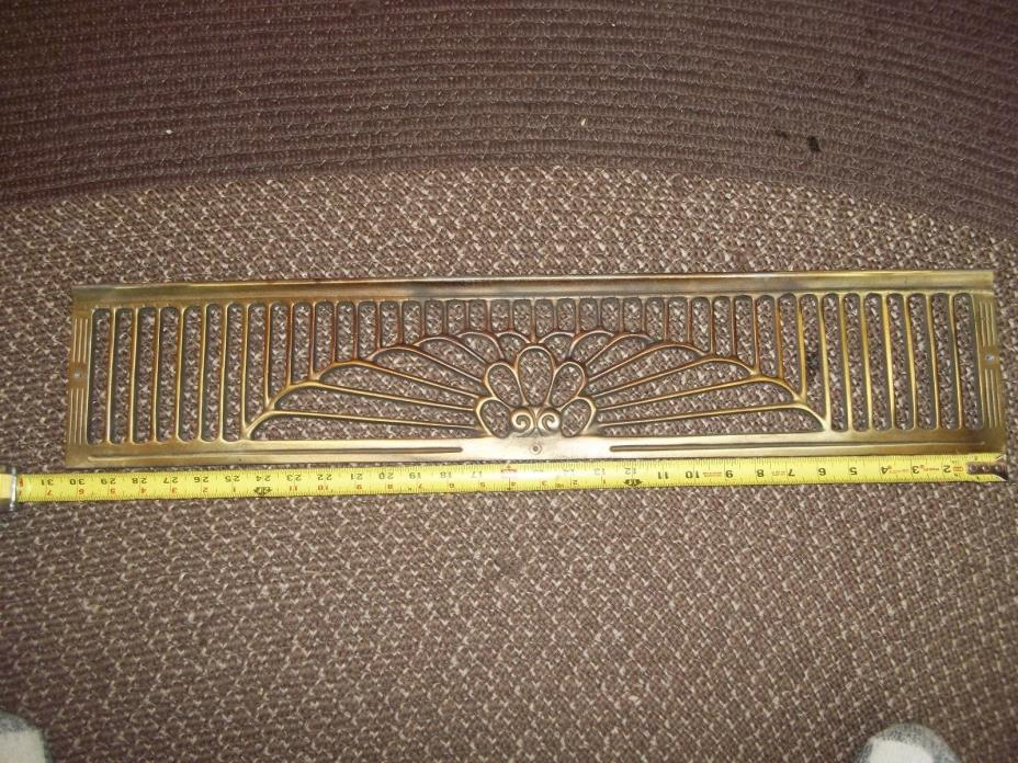 Stunning vintage brass arts and crafts fireplace fire place mantel insert 31