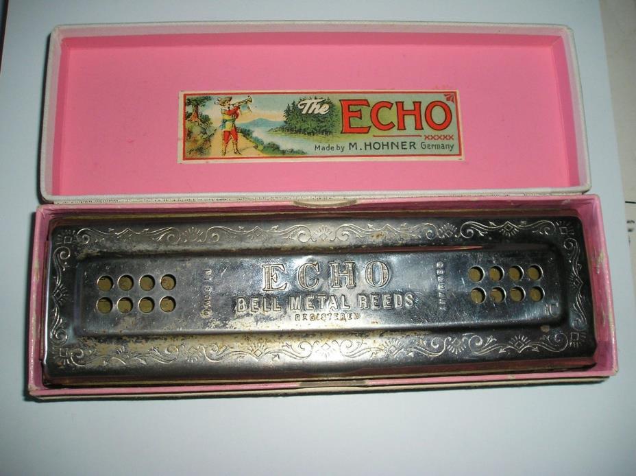 Rare Antique Beautiful German M. Hohner ECHO- HARP Harmonica - 96 Holes
