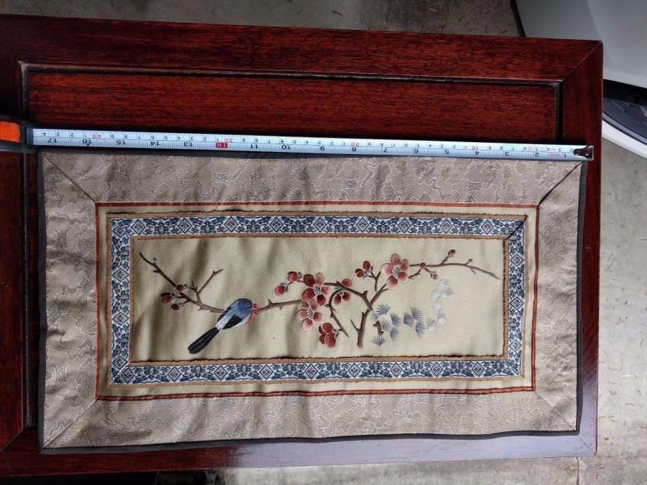 Chinese vintage silk embroidery birds and flower