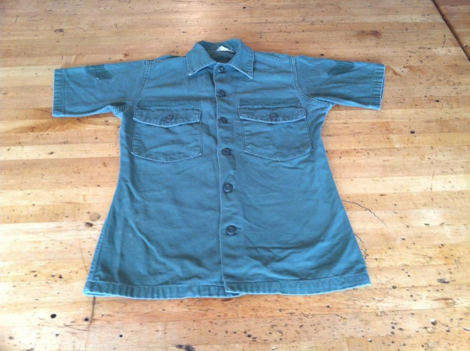 Vintage Army Field Short Sleeve Shirt Size Mens XS Small 14.5 x 31 OD Green OG