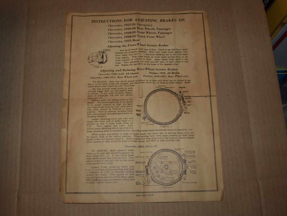 Instructions for Adjusting Brakeson Chevrolet 1925 1926 1927 1928 1929 1930 Cars