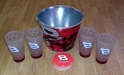 Dale Earnhardt JR. Nascar Beer Glasses Ice Bucket Coasters