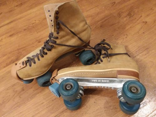 Vintage Reidell Suede Men's Roller Skates Aerobic Skate Wheels SIZE 10