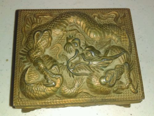 Vintage Metal Dragons Trinket Box Lined with Wood Made in Japan Rare