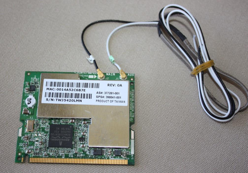 HP Broadcom 54g MaxPerformance 802.11a/b/g WiFi Bluetooth Adapter Card w/ Cables