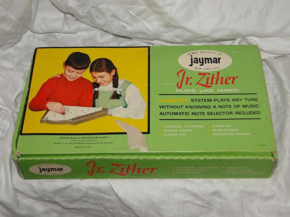 VINTAGE JR. ZITHER JAYMAR ITALY I2440 MUSICAL INSTRUMENT ORIG BOX INSTR WIRE KEY