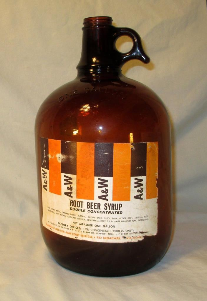 Vintage A W Root Beer Jug Bottle Amber Brown 1 Gallon 1943 A and W Syrup