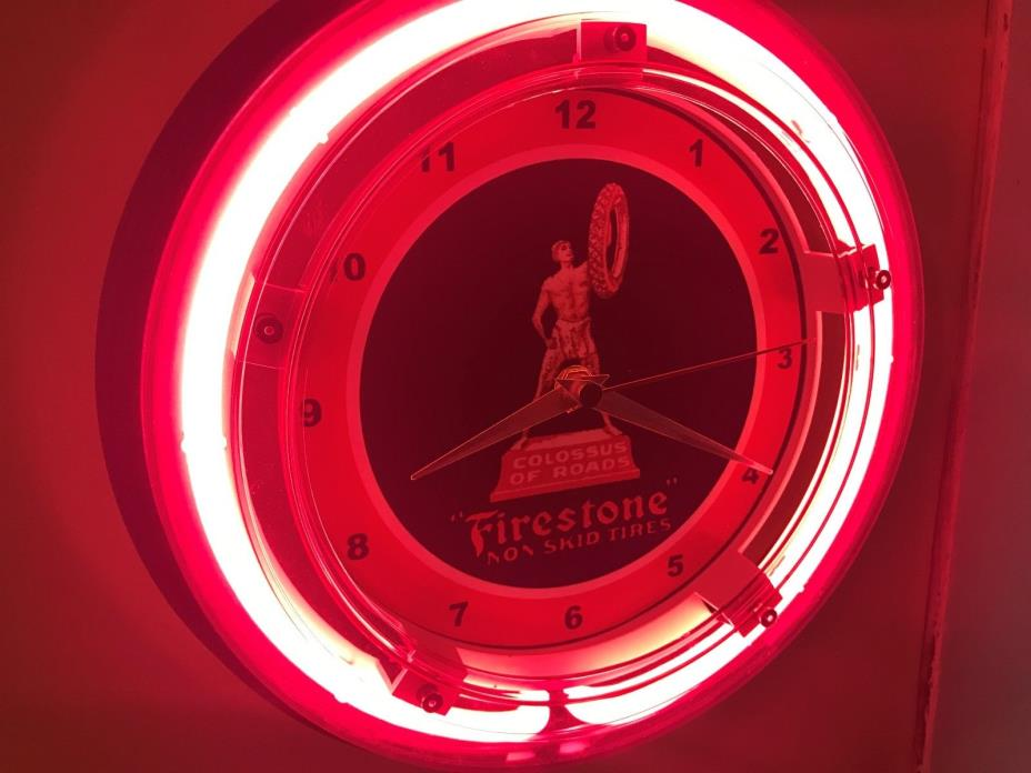 ^^^Firestone OldLogo Tires Gas Service Station Man Cave Neon Wall Clock Sign