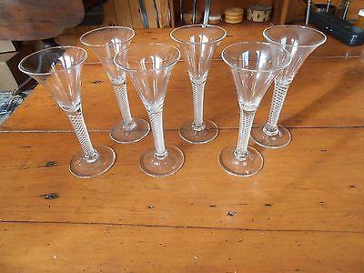 Antique Georgian AIR TWIST wine glasses SET of 6  very rare ex cond pontil marks