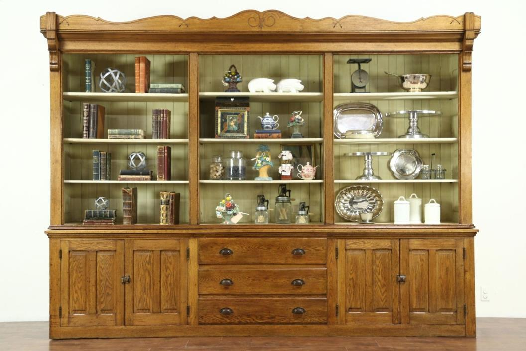 Oak Antique 1870 Store Display Cabinet or Pantry Cupboard, 10' 2