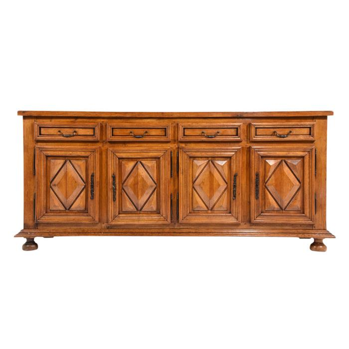 French Antique Louis XIII-Style Buffet Solid Oak Wood