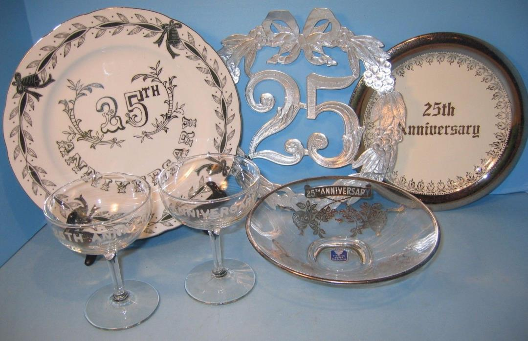25th WEDDING ANNIVERSARY LOT LAUGHLIN LEFTON ROCKWELL PLATES GLASSES GREAT DECO