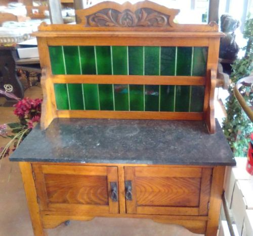 Antique Oak Marble Top Dry Sink