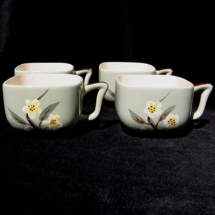 Weil Ware Blossom Cups Lot of 4 Celadon Green California Pottery 1950s