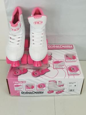 Roller Derby Girl's Roller Star 350 Skates Lace Up Sz. 6 Pink White Model# U324G