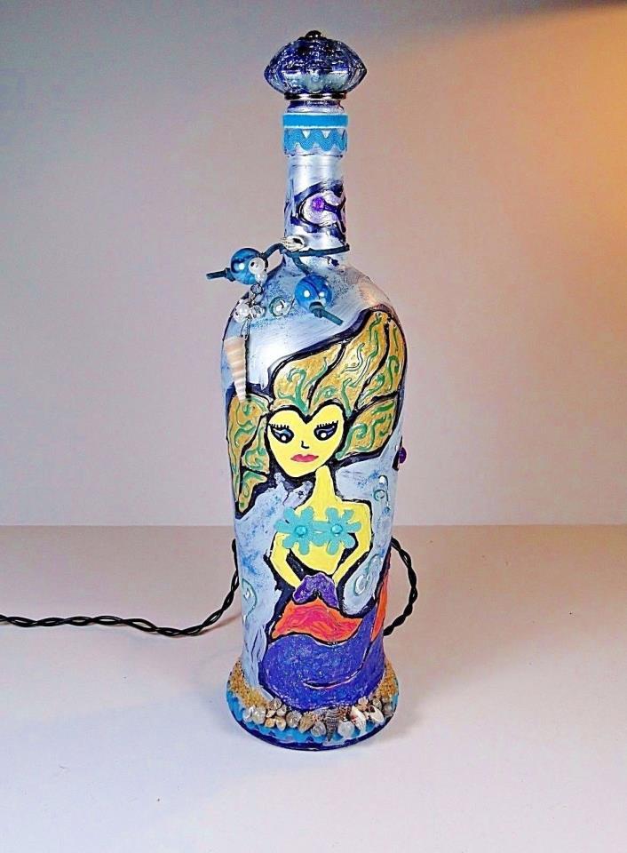 Handmade Lighted Decorated Bottle Mermaid 3