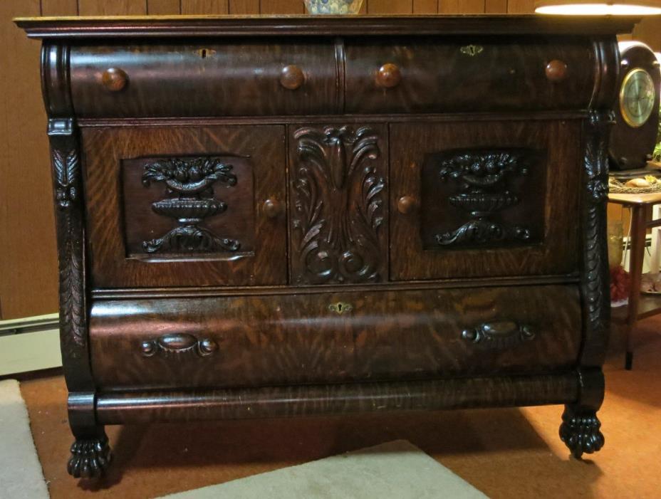 Antique Victorian Quarter Sawn Tiger Oak Sideboard Buffet