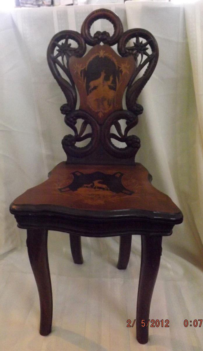 Inlaid Wood German Black Forest Musical Child's Chair c.1890