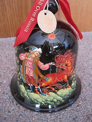 G DeBrekht Art Studios Hand Painted Christmas Bell Russia - Man with Horse Pony